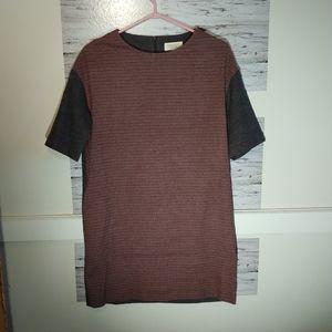 TOAST Tunic Shift Dress Size 10 Grey Wool/Cotton